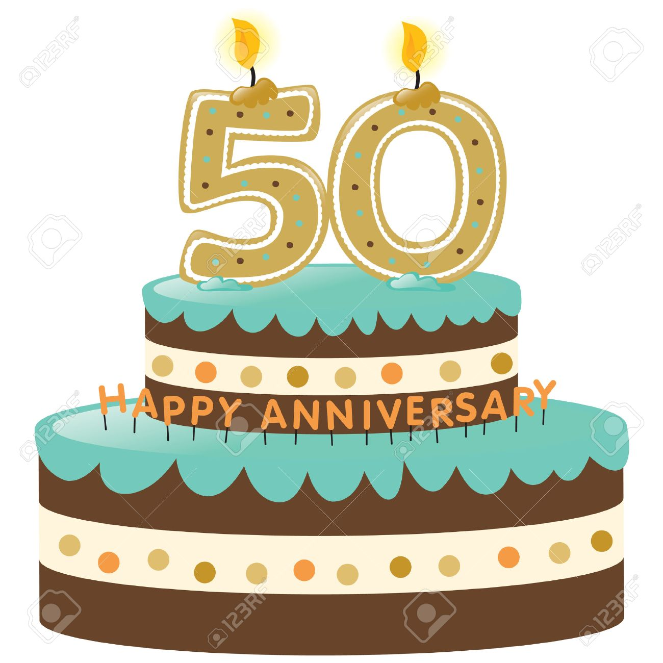 Gâteau Anniversaire 50 Ans Avec Bougies
