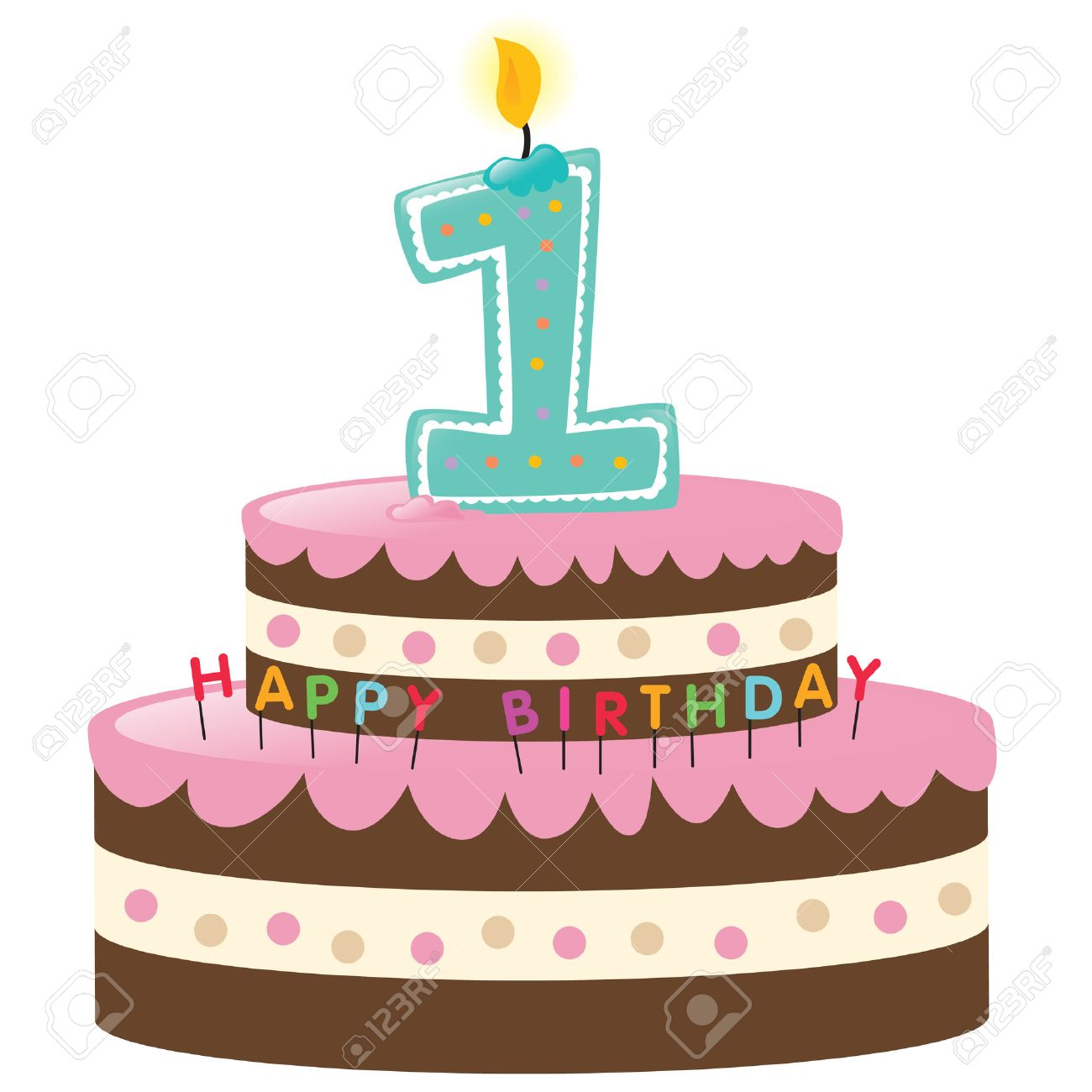 Happy First Birthday Cake With Candle Royalty Free Cliparts, Vectors ...