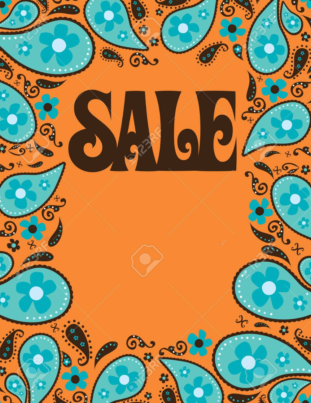 85x11 Seventies Style Sale ShellPoster Template Royalty Free – Sale Sign Templates Free