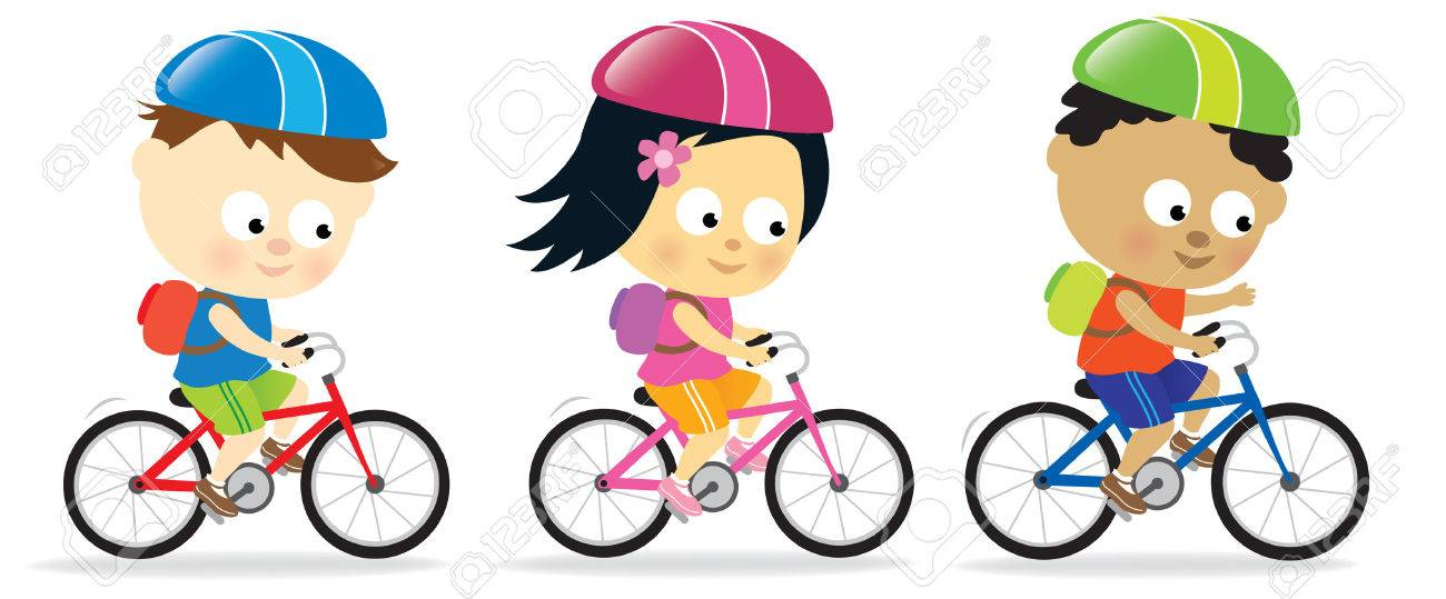 Kids Riding Bikes Royalty Free Cliparts Vectors And Stock
