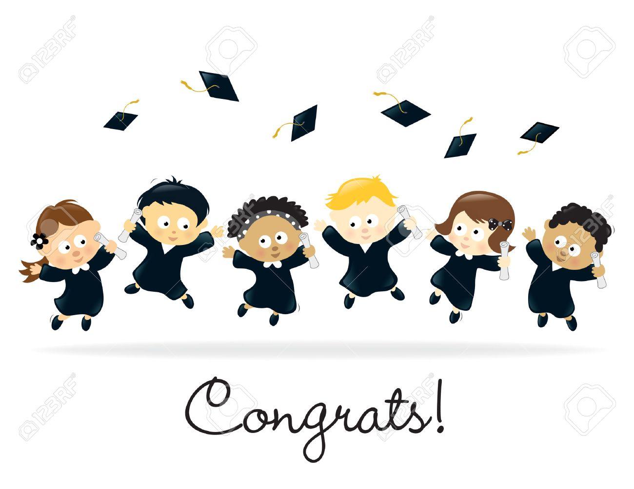 Graduation Kids - multi-ethnic Stock Vector - 6983229