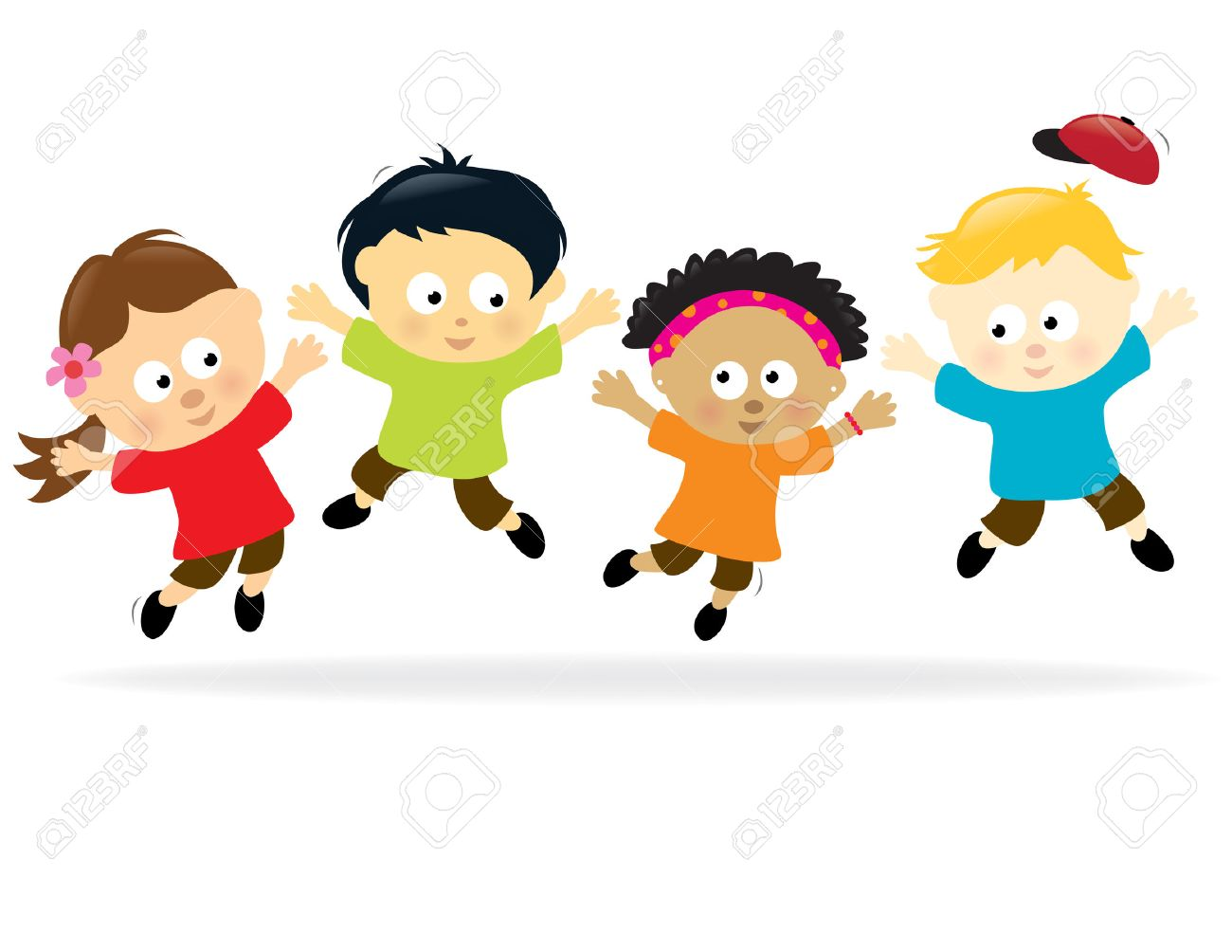 mexican kids jumping kids multi ethnic illustration - Cartoon Pictures Of Kids