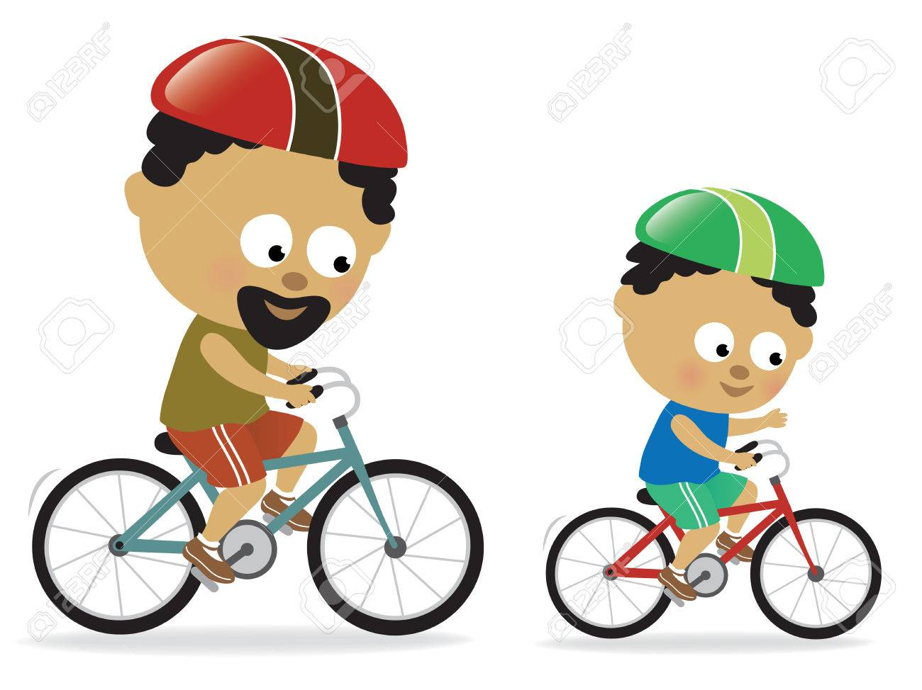 Father and son biking (African American) Stock Vector - 7034580