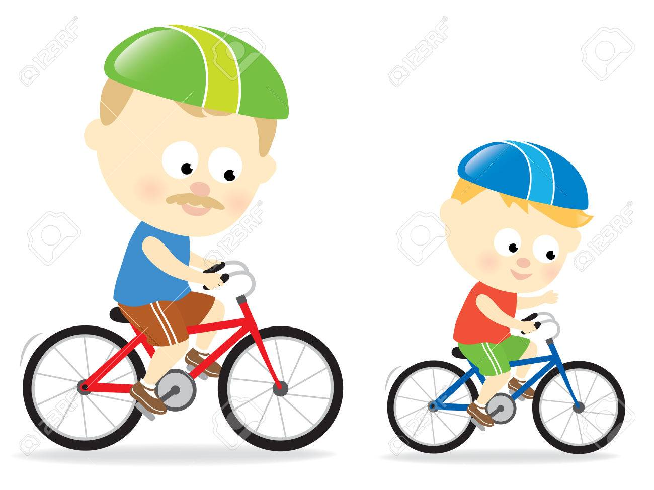Father and son biking Stock Vector - 7180354