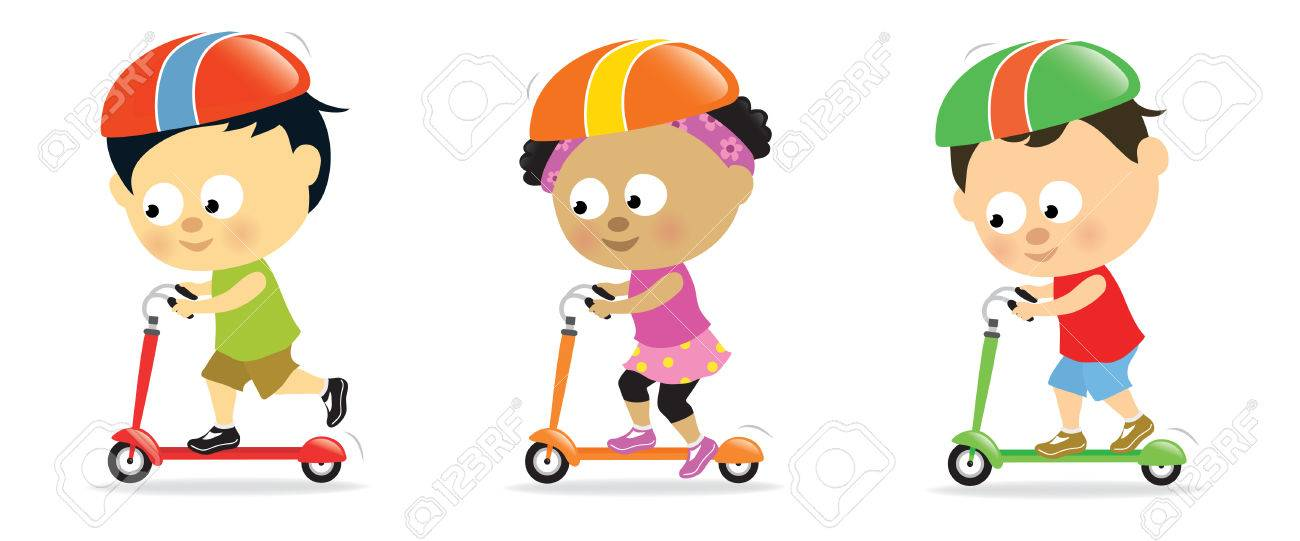 Kids on scooters 2 Stock Vector - 7624528