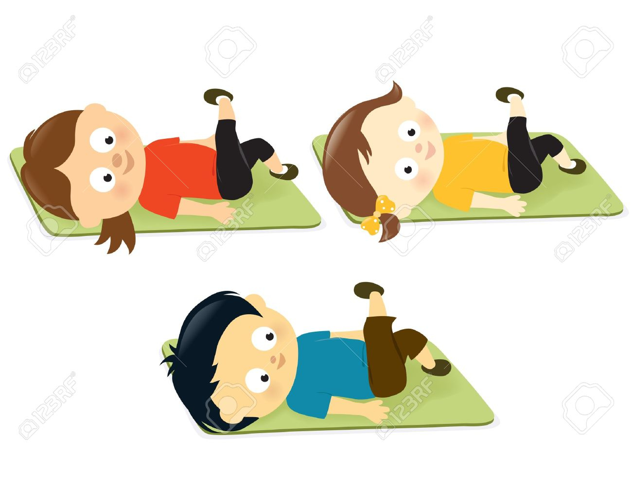 Illustration Of Kids Exercising On Mats Royalty Free Cliparts