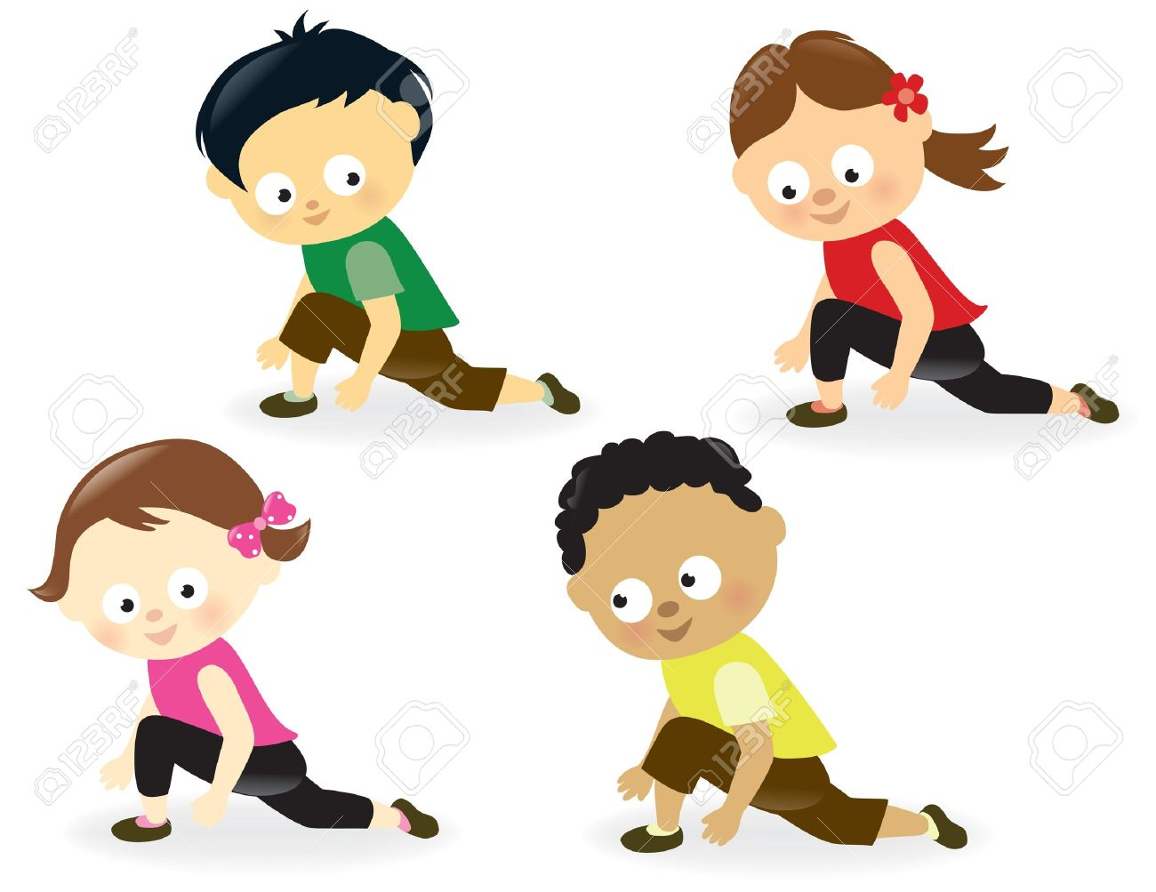 kids doing leg stretches stock vector 17692440 - Exercise Pictures For Kids