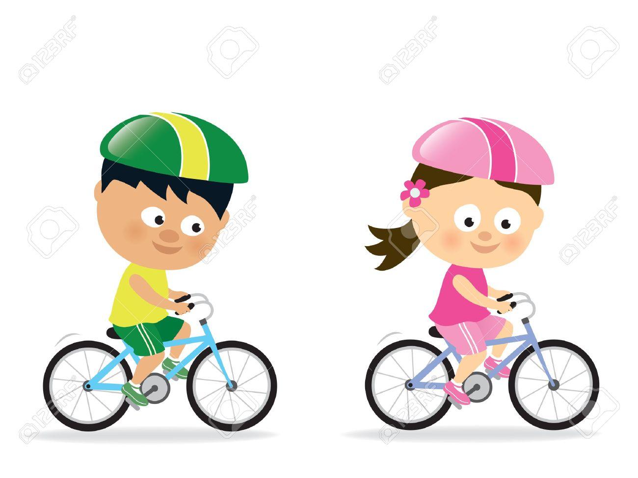 Girl and boy biking Stock Vector - 17692444