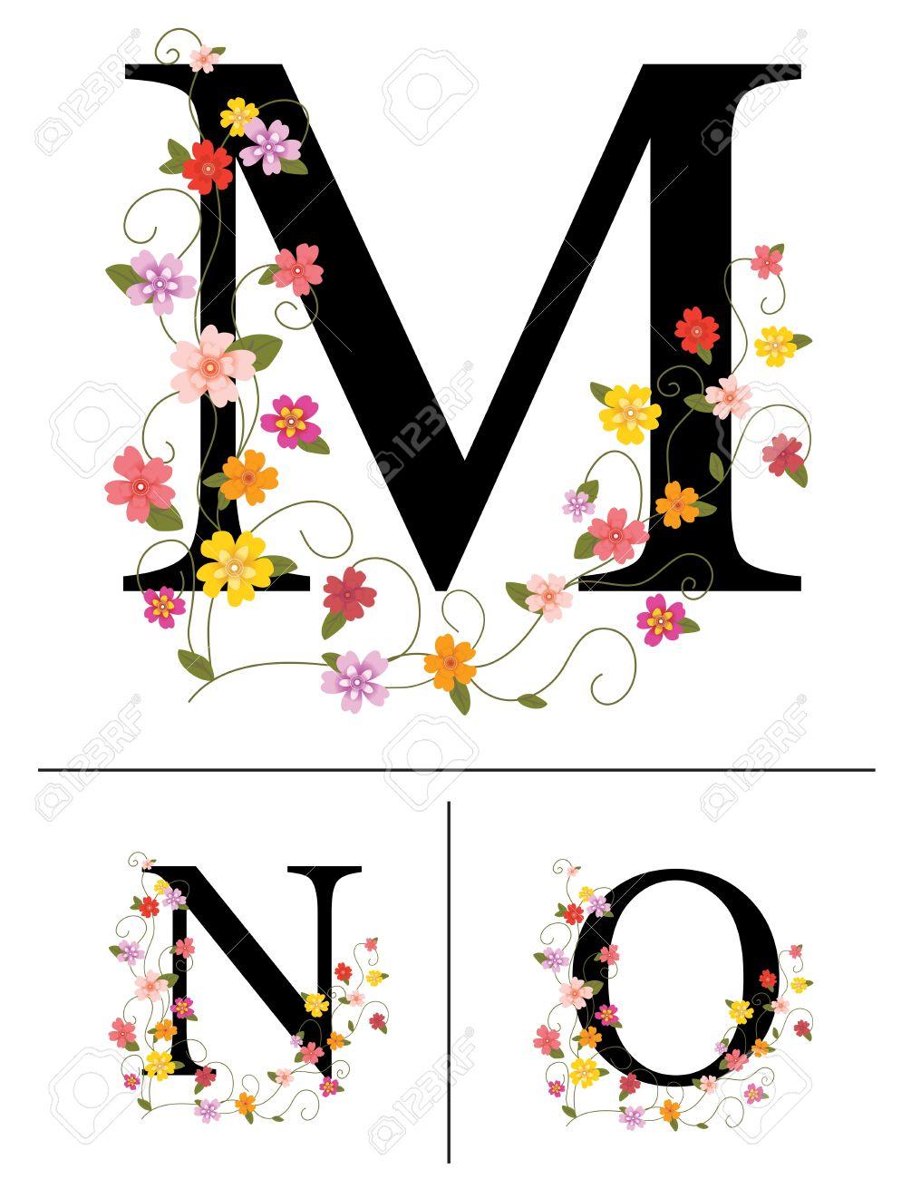 Decorative Letters Decorative Super Caps Letters M N O Royalty Free Cliparts