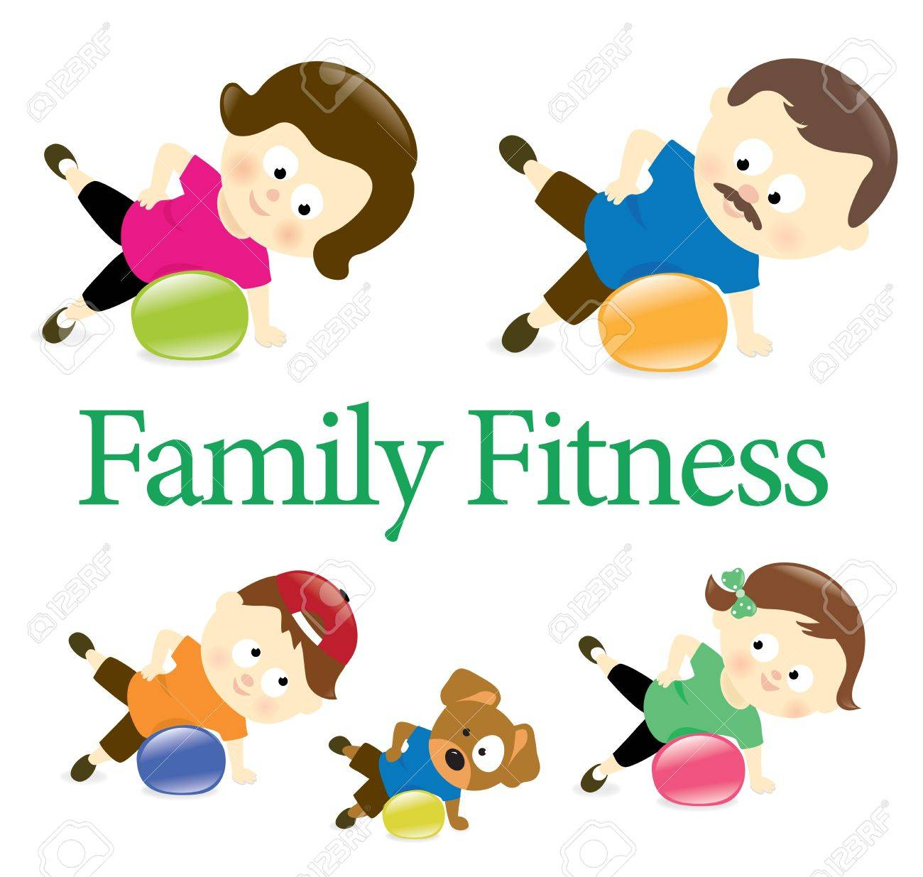 Family fitness with exercise ball Stock Vector - 19113327