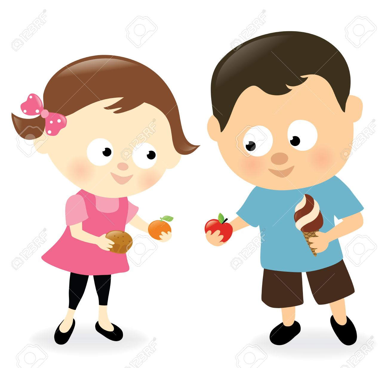girl and boy sharing sweets and fruits royalty free cliparts rh 123rf com sharing information clipart sharing toys clipart