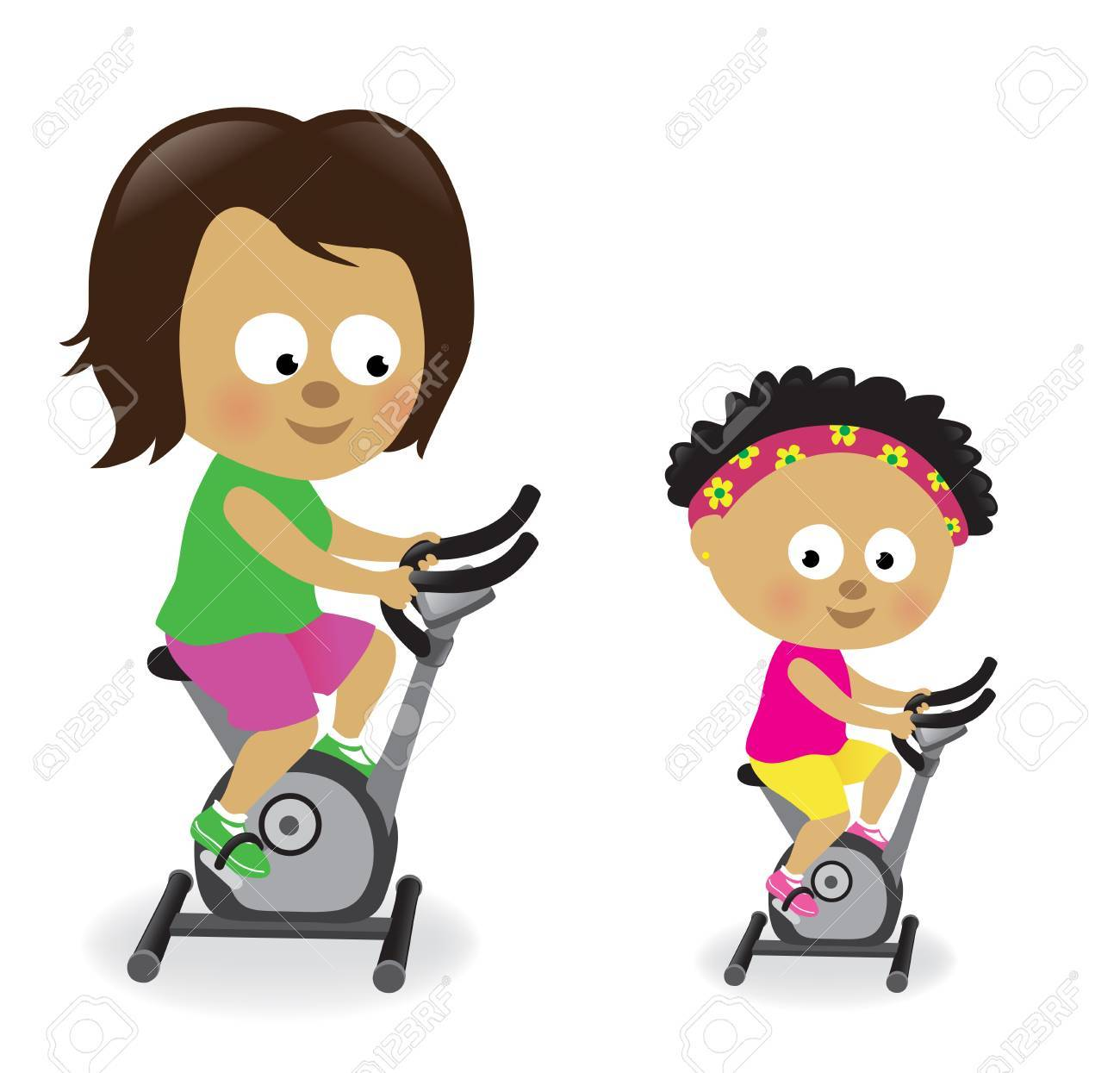 Mother and daughter riding exercise bikes Stock Vector - 20016120