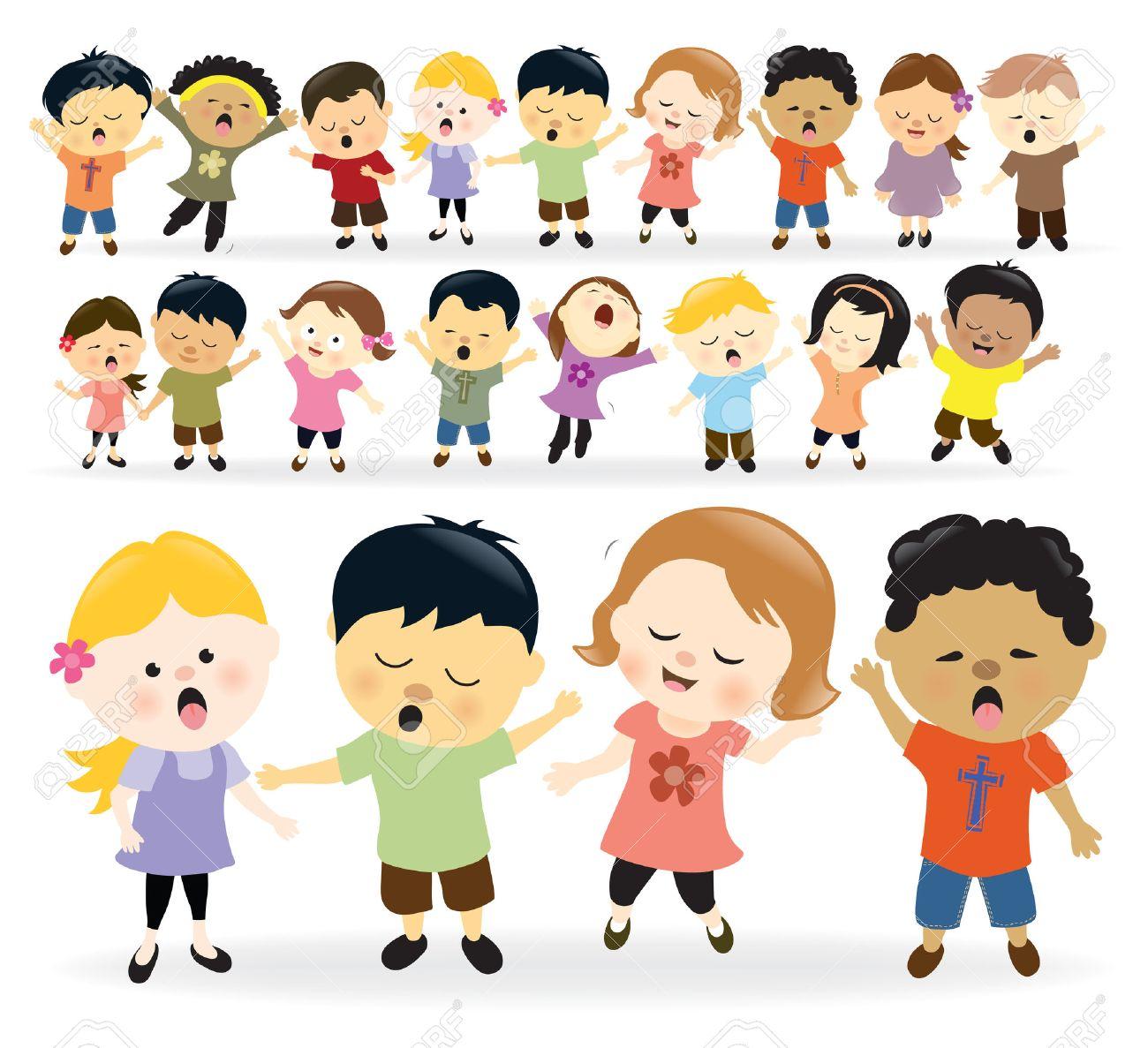 Group of kids singing - 24283485