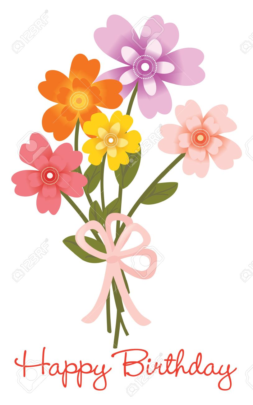Happy Birthday Flower Bouquet Royalty Free Cliparts, Vectors, And ...