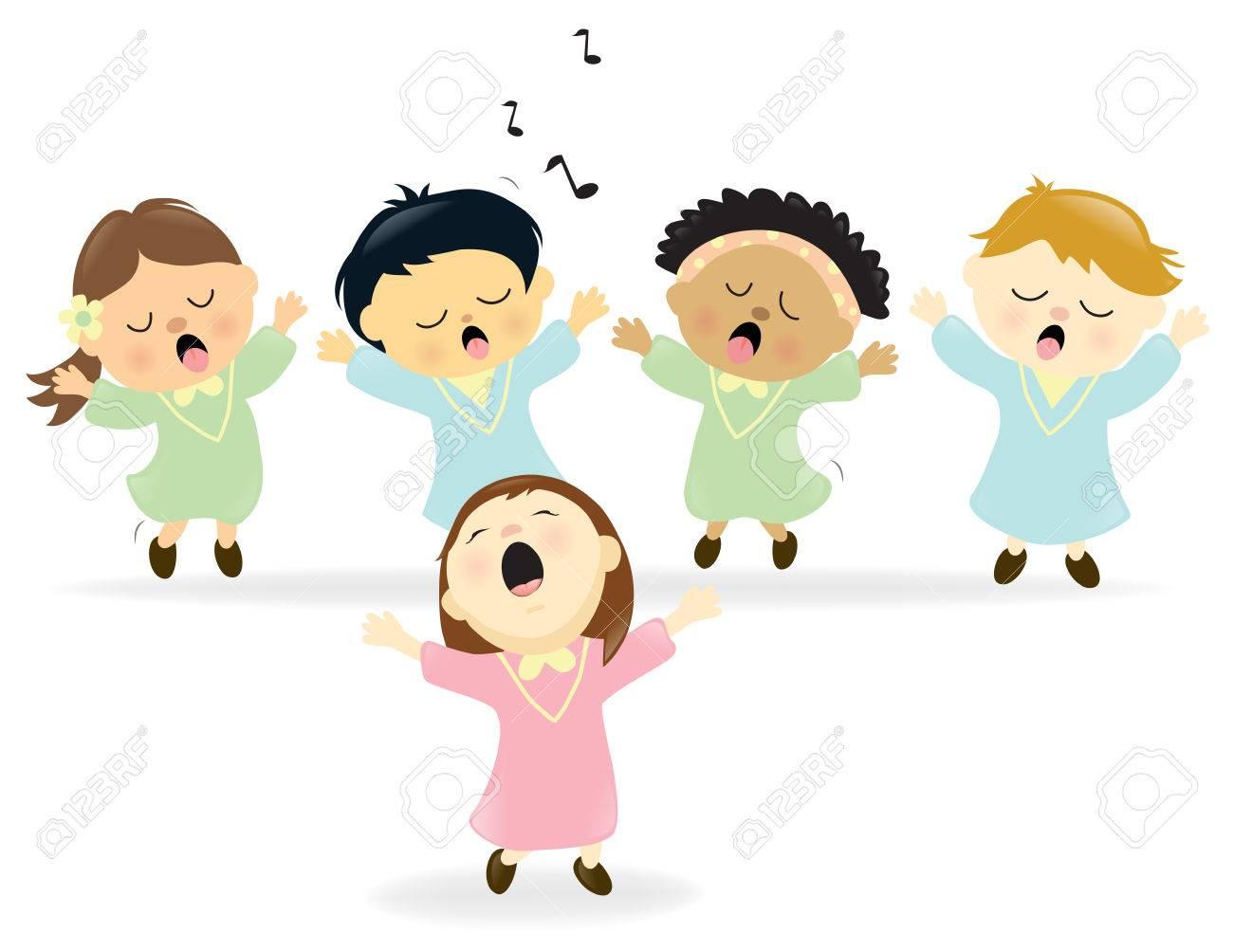 かわいい合唱団が歌うのイラスト素材ベクタ Image 56626290