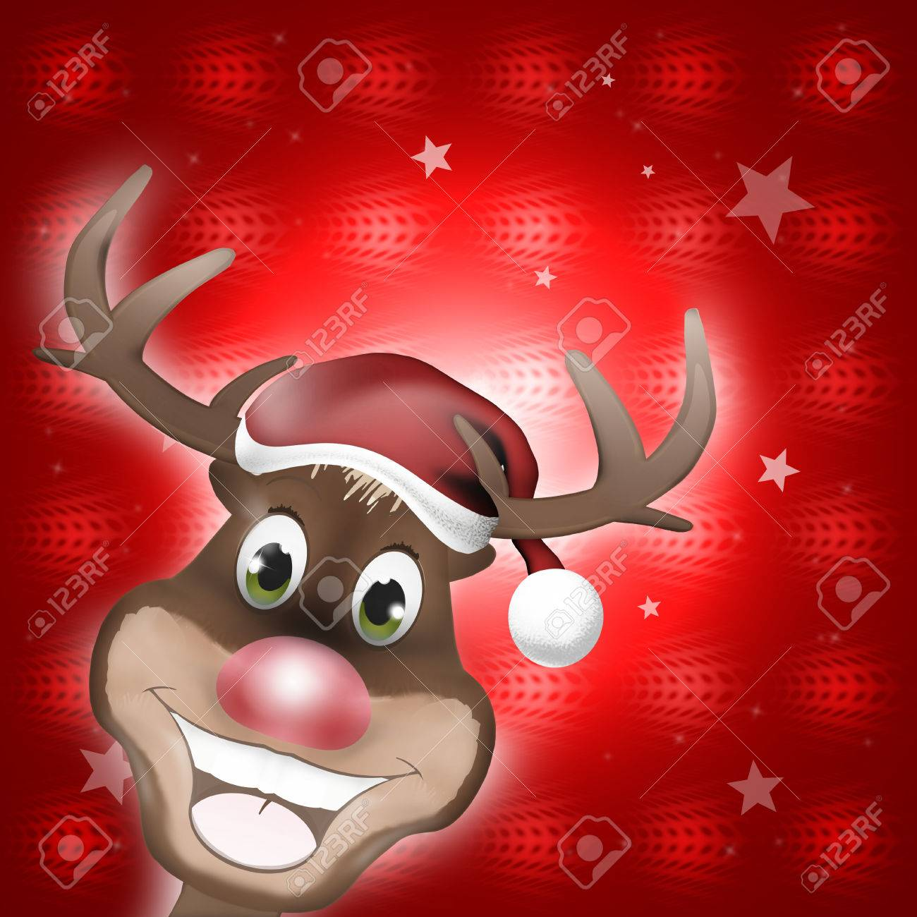 Reindeer Happy Christmas Smile Stock Photo, Picture And Royalty ...