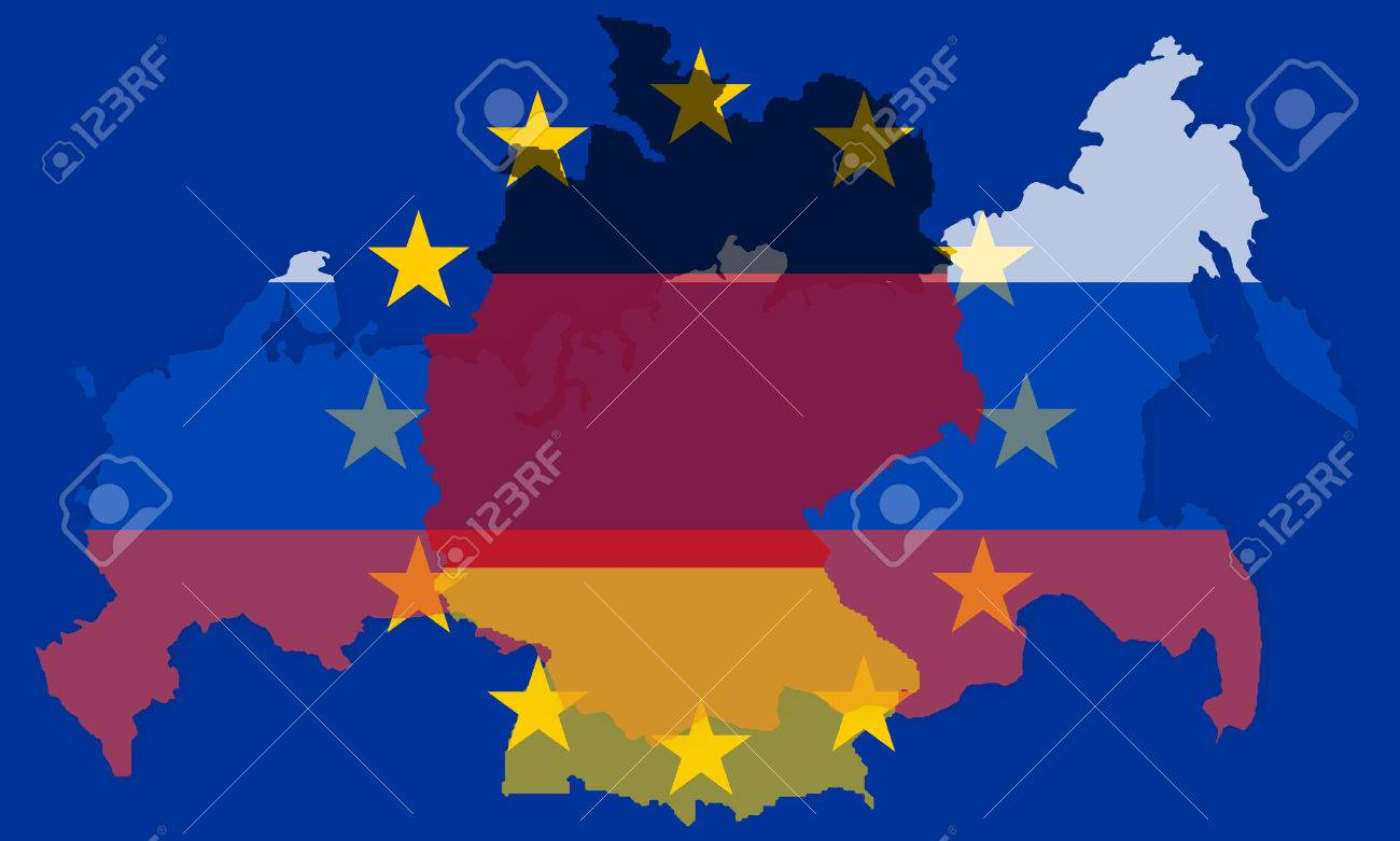 russia europe germany states government outline modern map regular..