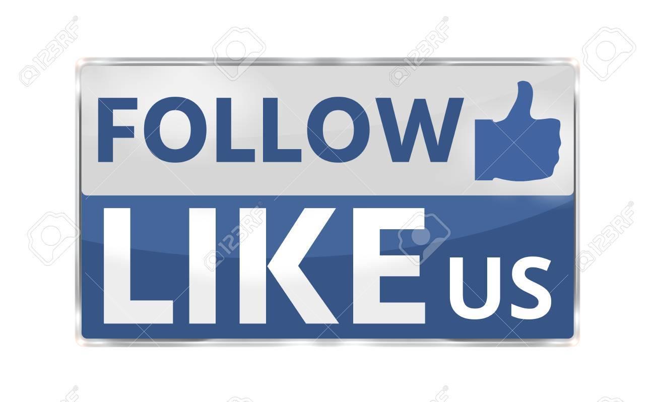 Like Us modern blue badge button 3D render - 60655591