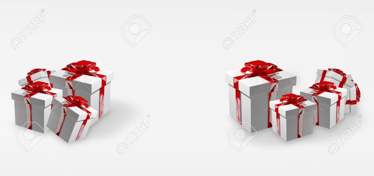 Weiß Weihnachtsgeschenke Mit Roten Bändern 3d Render Lizenzfreie ...