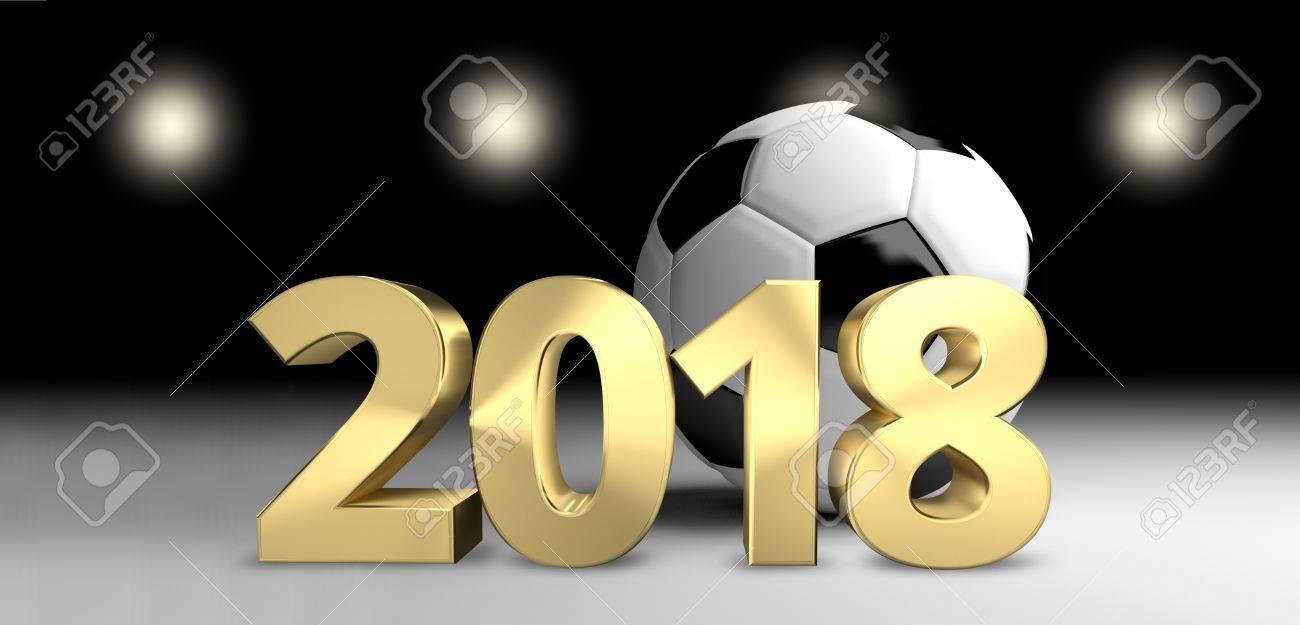 football ball 2018 soccer 3D render golden football - 64826118
