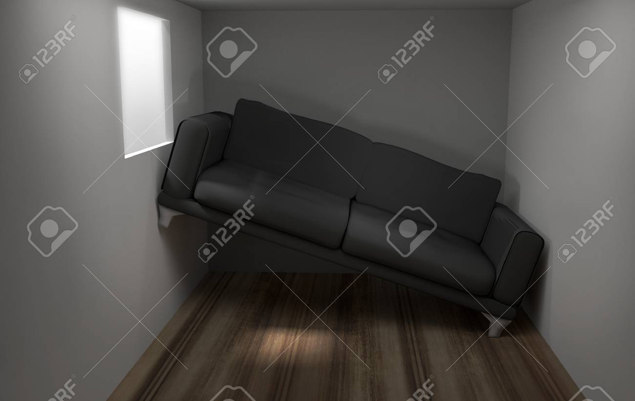 Space problems in the small living room 3d render - 64826185