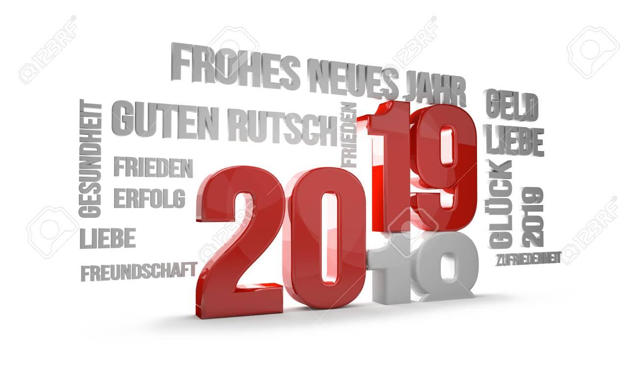 Deutsche Sprache Für Guten Rutsch Ins Neue Jahr 2019 3D übertragen ...