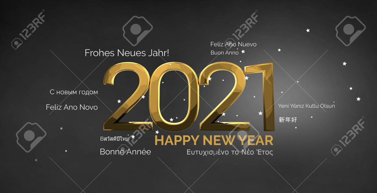 multilingual happy new year 3d render background - 70321303