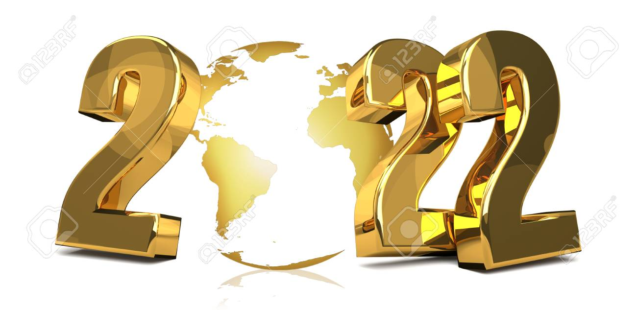 2022 golden worldwide global symbol 3d render Stock Photo - 70979025