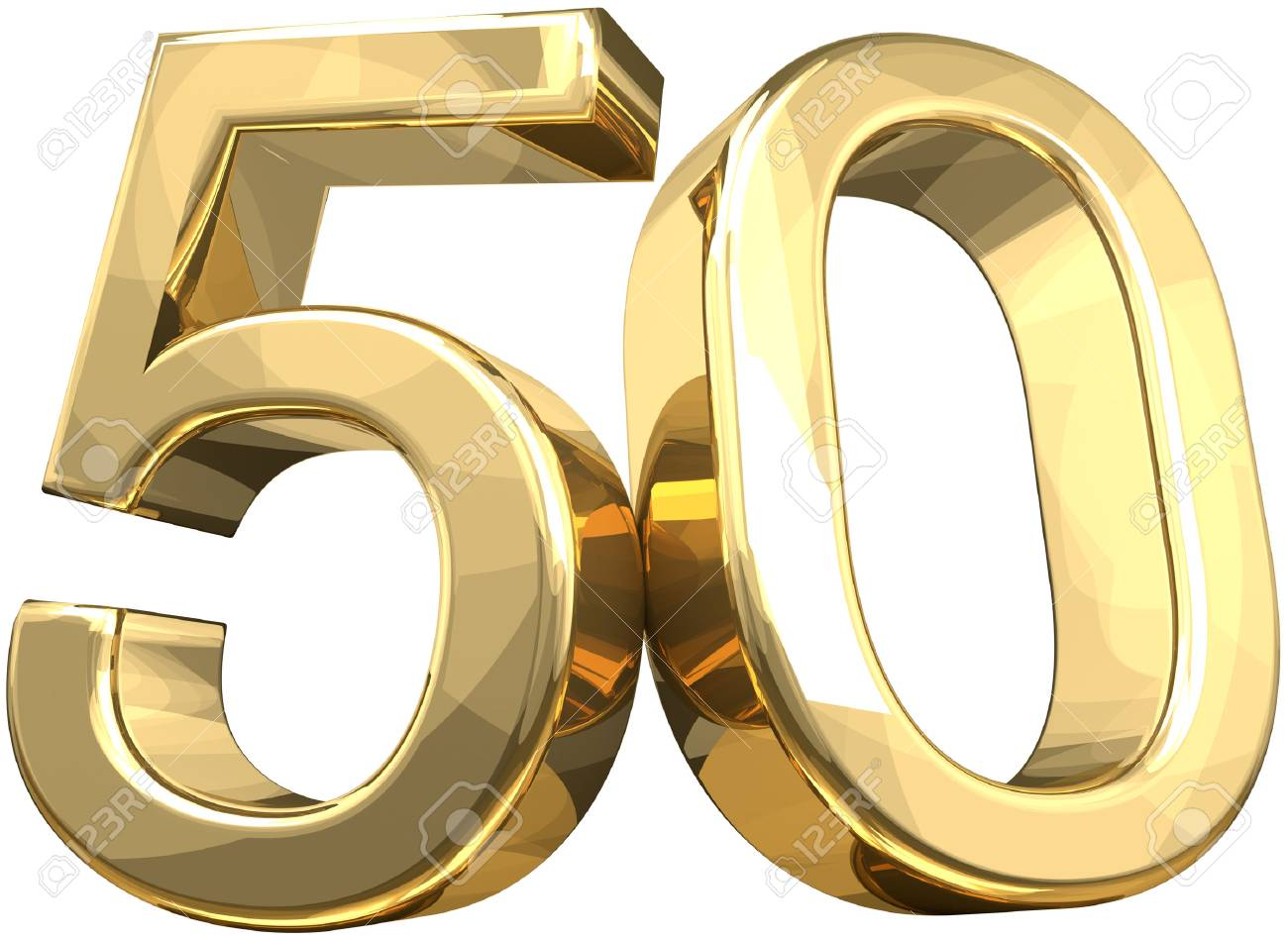 50 golden number isolated 3d rendering stock photo 78440034