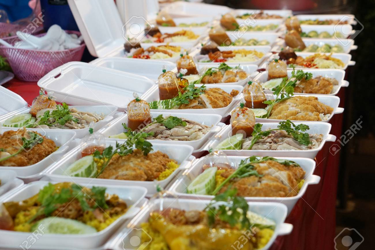 take away food to go at thailand night market with chicken or pork - 80647045