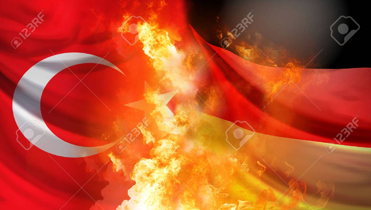 Turkey and Germany crisis 3d rendering background with fire and flames - 92054195