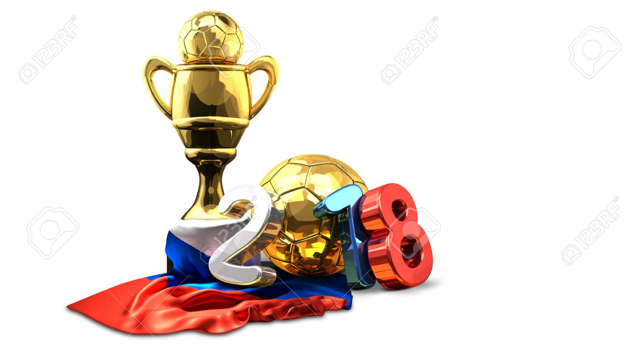 golden trophy soccer football russian colored 2018 3d rendering - 92055012