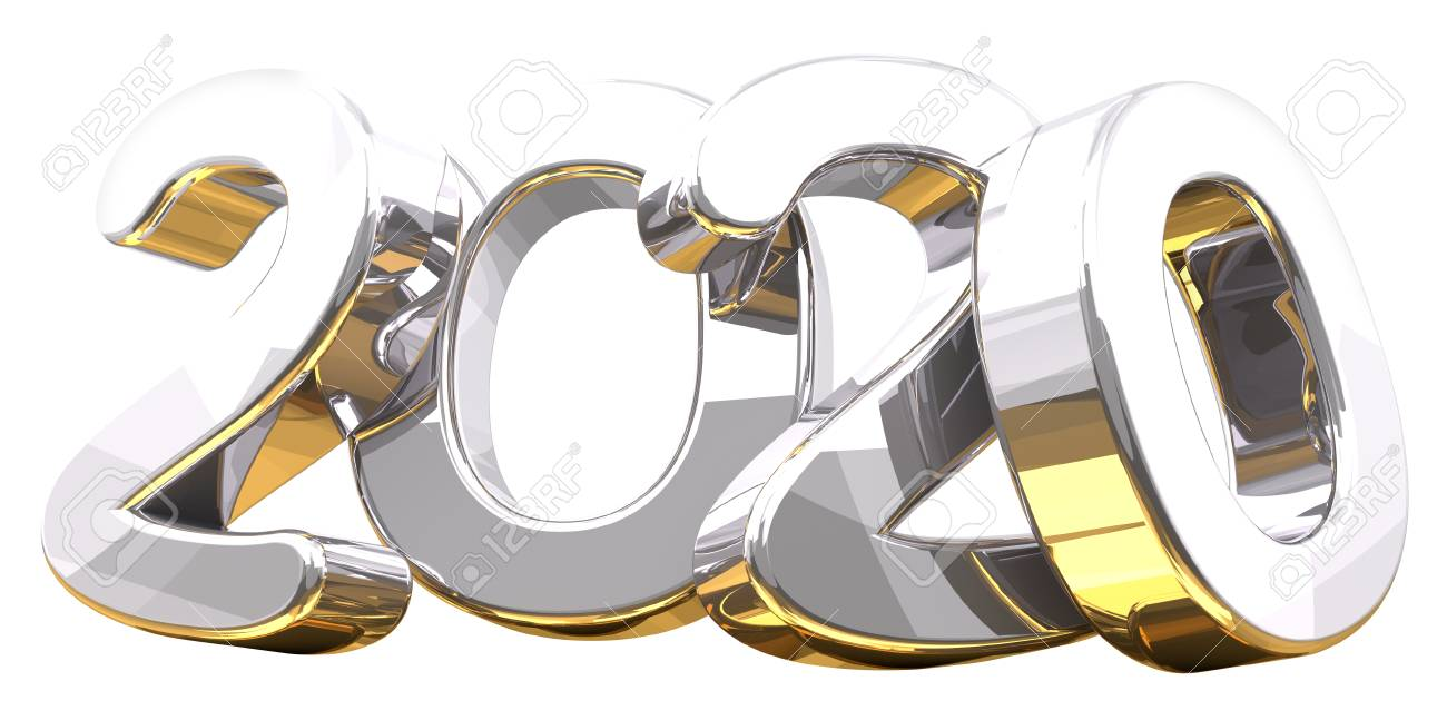 silver golden 3d rendering symbol 2020 - 92055066