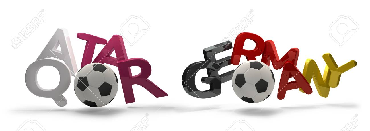Qatar And Germany Soccer Football 3d Rendering Symbol With Soccer