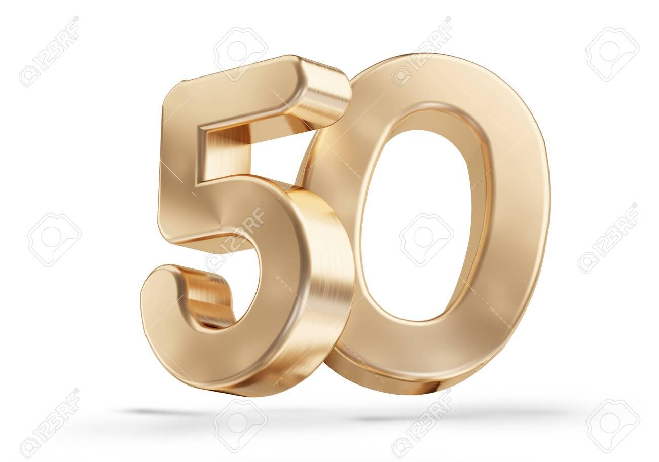 50 golden 3d-illustration isolated on white - 134125087