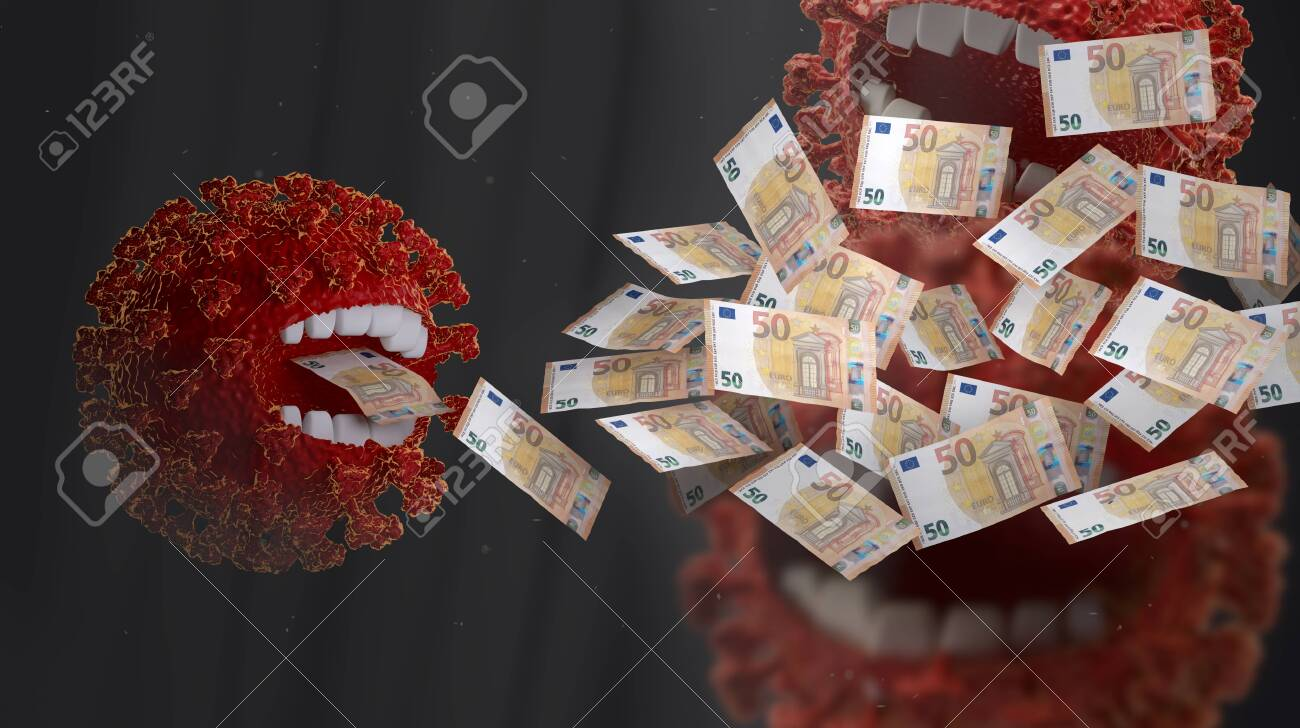 concept of Corona crisis costs. money eating red virus, symbolic virus monster with teeth and EUR banknotes 3d-illustration - 148679825