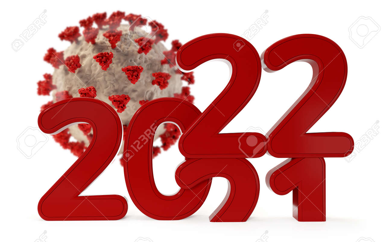 virus and red 2022 bold letters 3d illustration - 169418305