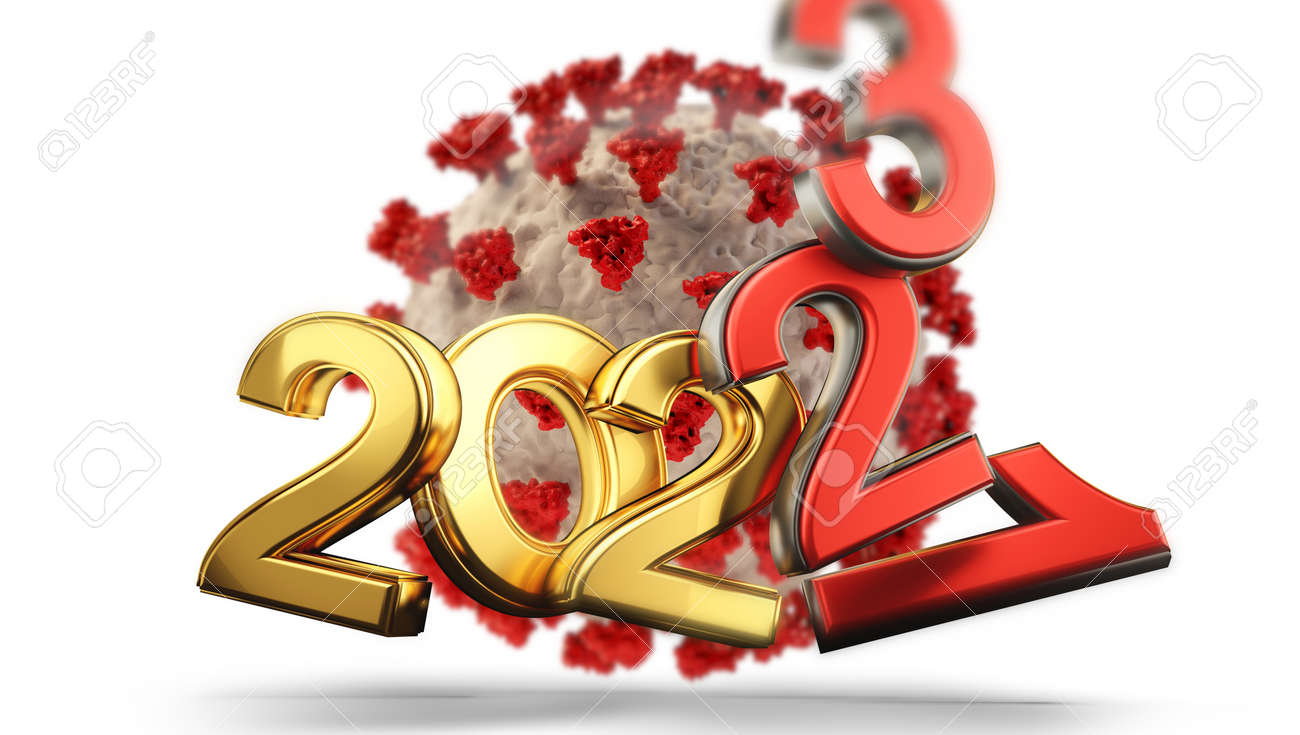 years symbolic and virus cell red 2021 2022 and 2023 3d-illustration - 169665616