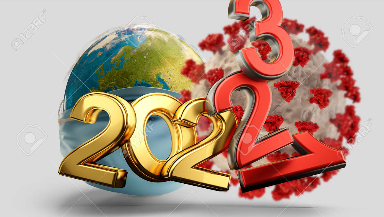 years symbolic and virus cell red 2021 2022 and 2023 3d-illustration - 169665619