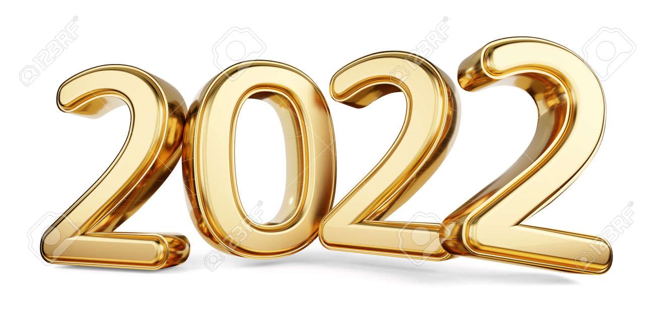 2022 bold letters golden symbol 3d illustration - 169664834