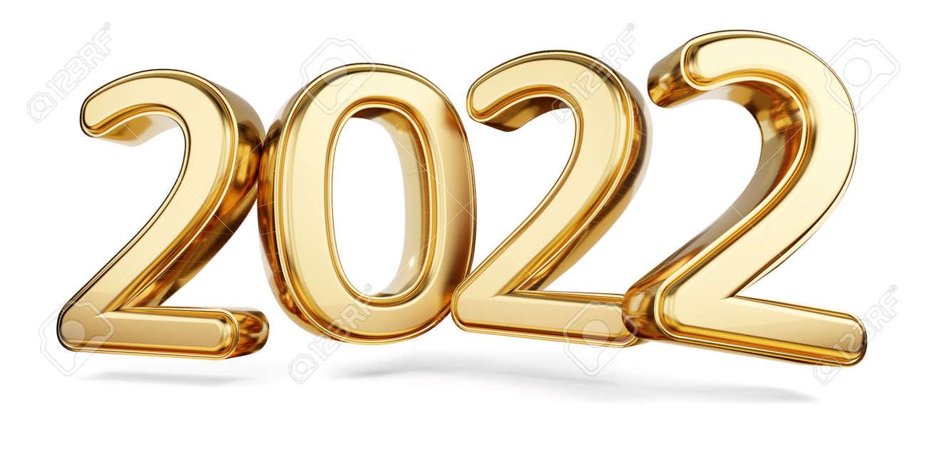 2022 bold letters golden symbol 3d illustration - 169664836