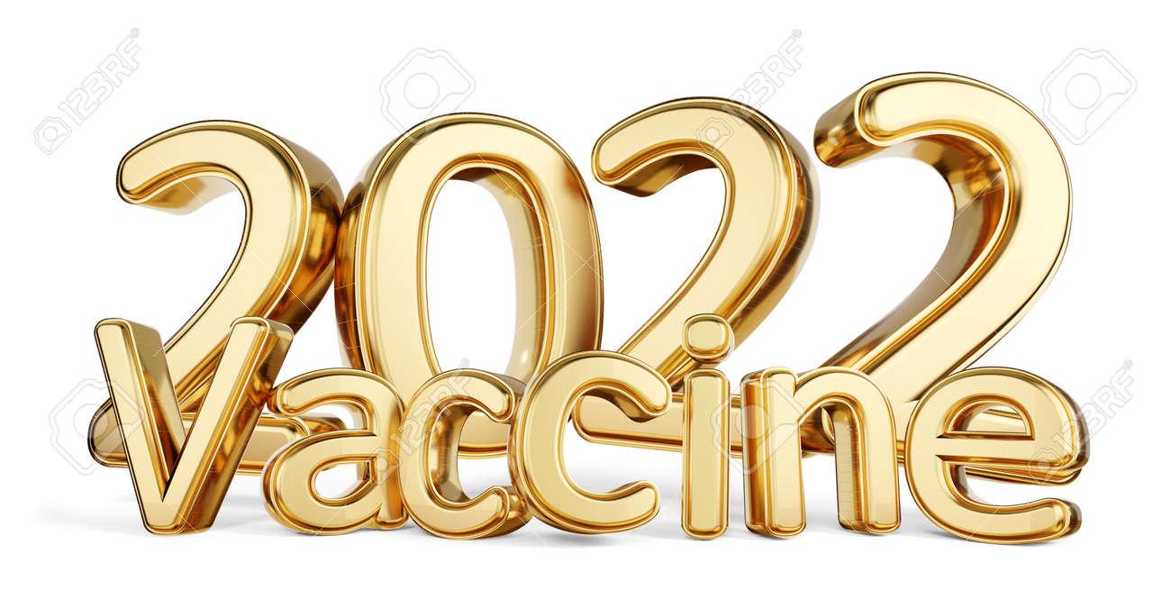 2022 vaccine golden symbolic metallic 3d illustration - 169664837