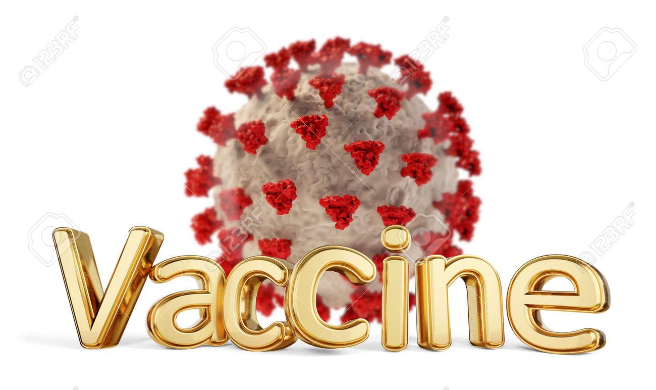 vaccine golden bold letters and Coronavirus 3d illustration - 169664839