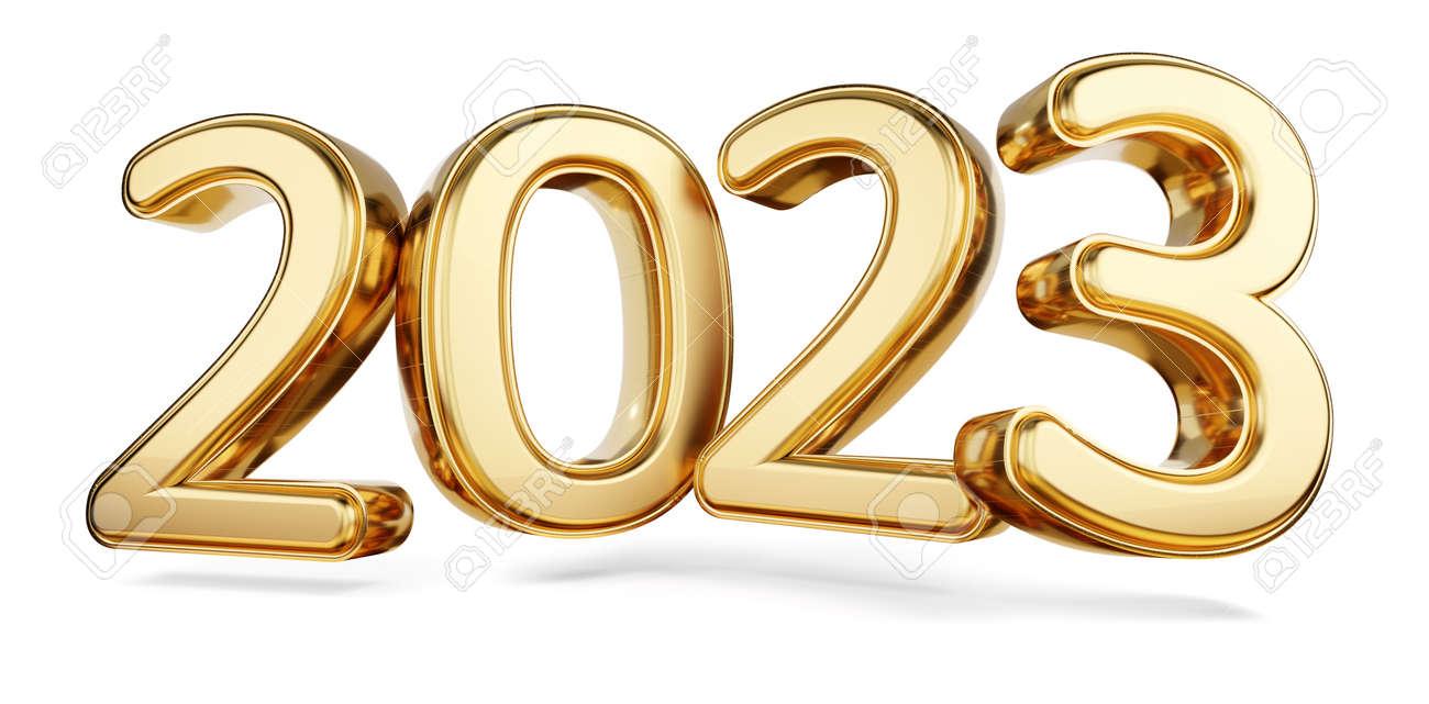 2023 bold letters golden symbol 3d illustration - 169664845