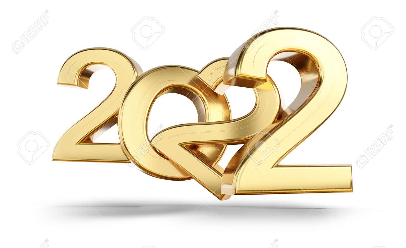 2022 bold letters golden symbol 3d illustration - 169664846