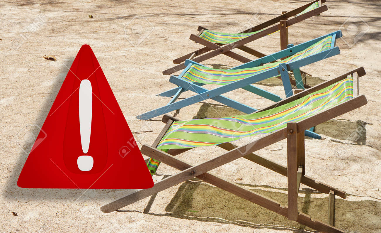 beach or travel warning. 3d illustration warning sign design. blurred beach named Sairee in Thailand on the island Koh Tao - 169664853