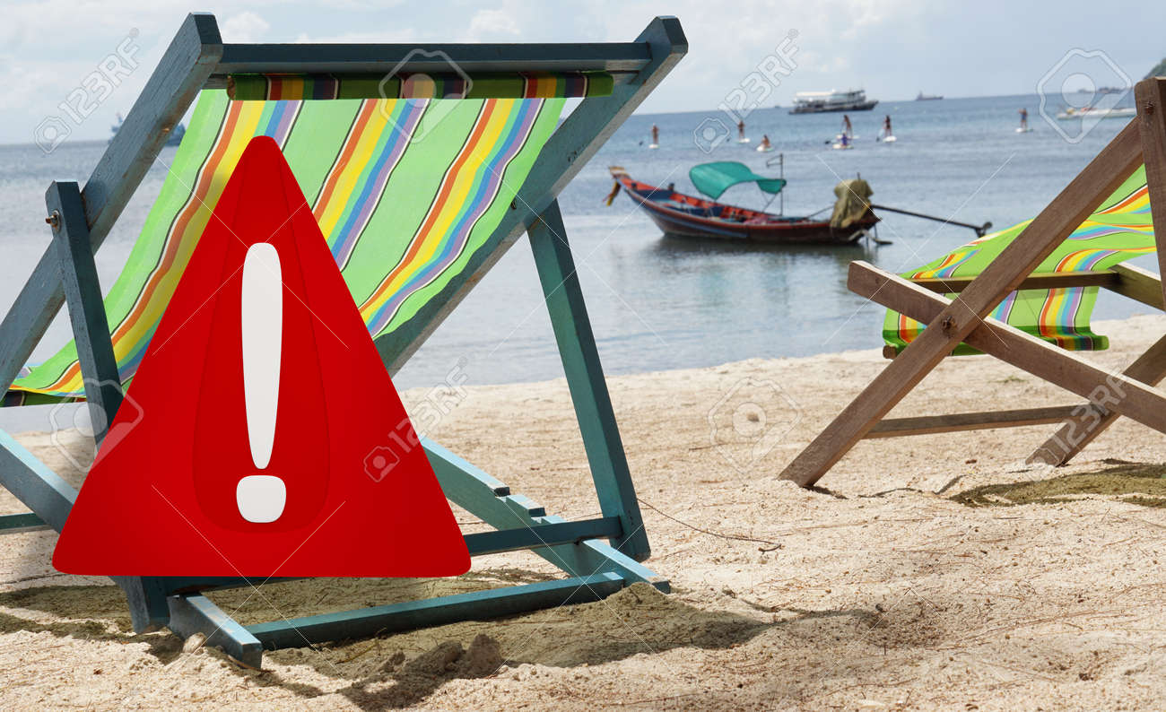 beach or travel warning. 3d illustration warning sign design. blurred beach named Sairee in Thailand on the island Koh Tao - 169664854