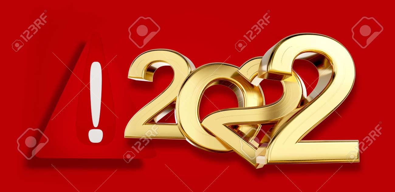 warning symbol 2022 golden 3d illustration - 169664601