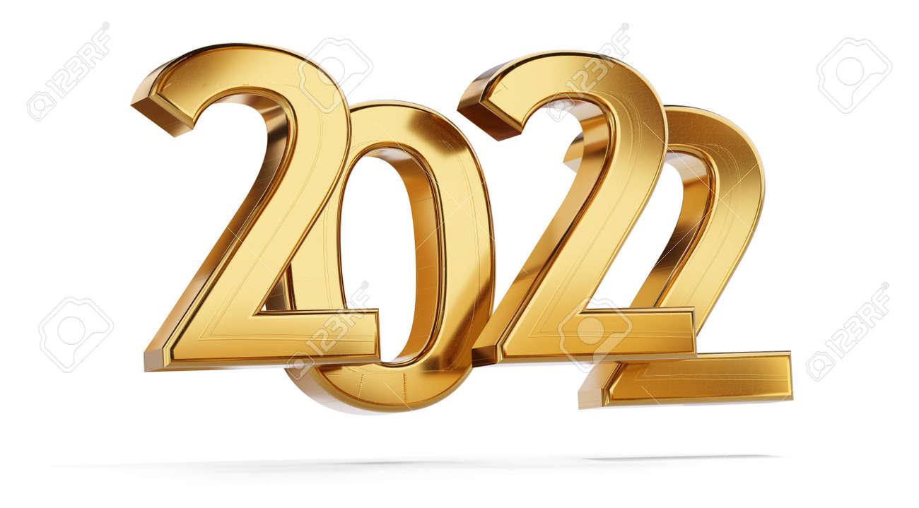 2022 golden bold letters symbol 3d illustration - 169664609