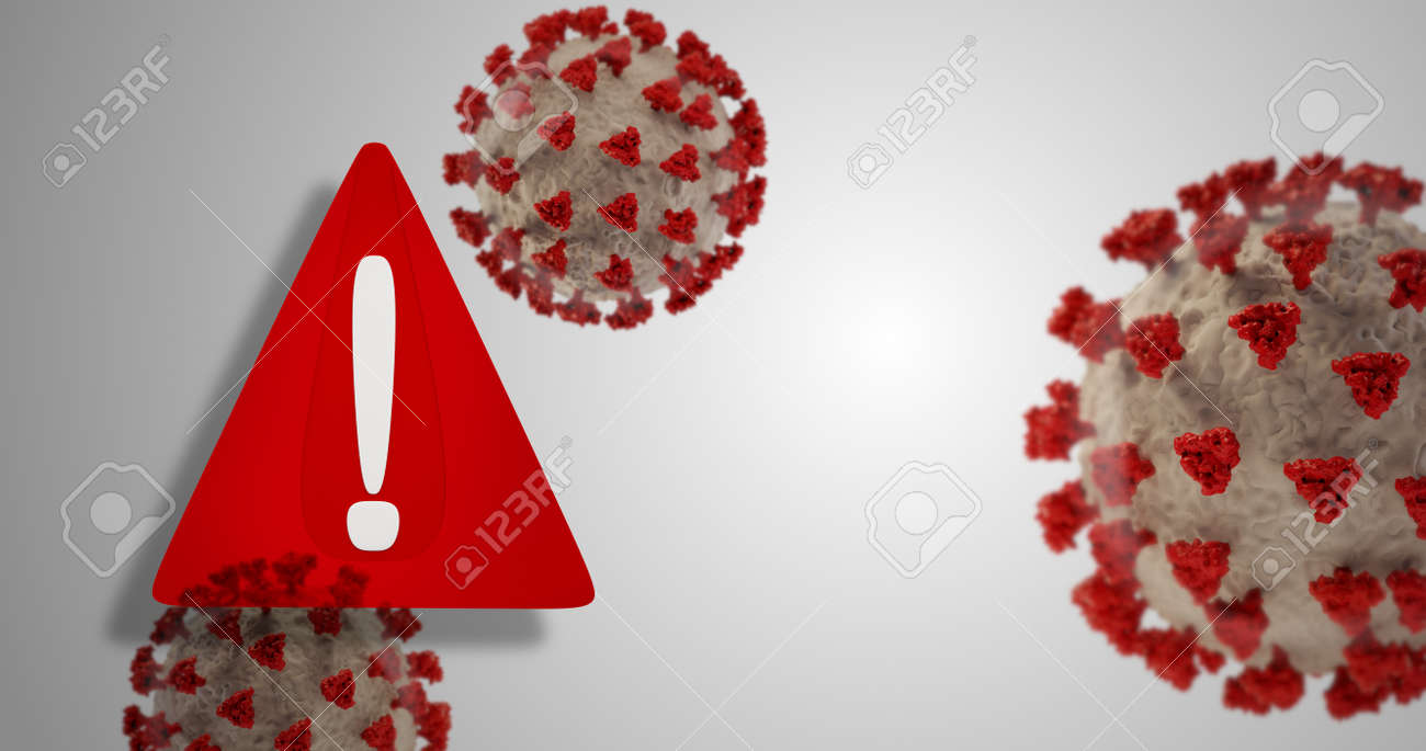 warning symbol red and Coronavirus covid-19 3d-illustration - 169664611